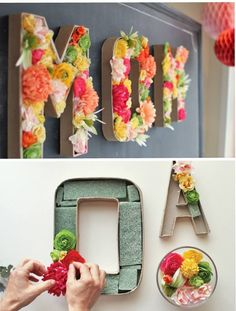 fresh flower DIY letters. Would be so superb for a wedding reception :)