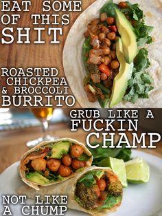 Chickpea broccoli burrito