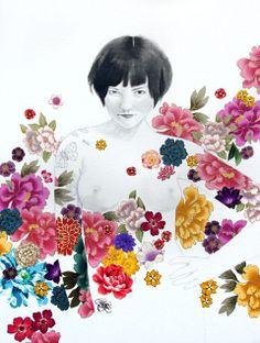 Cut Fabric Flower Girls by Stasia Burrington