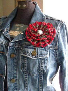 Red Plaid Flower Pin. Large Rosette Brooch and by fabulousfinds, 17.50