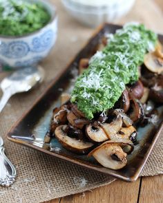Caramelized Mushrooms with Pesto Guacamole | by Runningtothekitchen, via Flickr