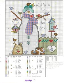 Winter is for the birds snowman cross stitch