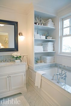 Master bath inspiration, tub/wall trim, marble, built-in storage...