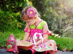 Little Girls Dress with Pink Peacocks by pinkmouse on Etsy, $49.00
