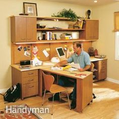 How to Build a Home Office from FamilyHandyMan.com - this one features a swing out desk that saves space when not in use. #DIY