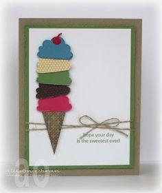 card idea, stampin up cupcake cards, birthdays, craft idea, cream celebr, birthday card stampin up, stampin cards cupcake, ice cream cones, birthday cards stampin up