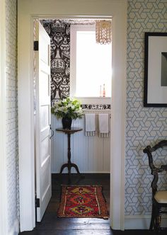 powder room // fab wallpaper // Philip Gorrivan Design #bathrooms #Trellis #wallpaper #geometric #davidhicks
