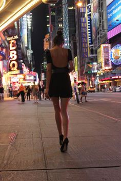 times square, party outfits, city life, bright lights, little black dresses, new york city, big city, fashion women, city style