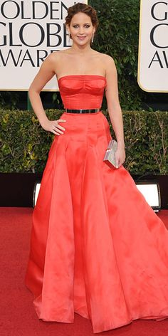 Jennifer Lawrence in coral Dior at the Golden Globes 2013