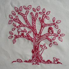 a cuppa and a catch up blog. Forest Friends redwork.