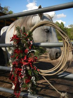 Christmas Wreath , Wreath For Door ,  Winter Wreath , Cowboy  Country. $89.00, via Etsy.