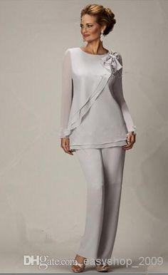 Wholesale - new Mother of the Bride Dresses style Two piece Chiffon mother of the bride pants suits Plus size
