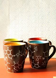 Caffeine molecule mugs - set of four | 15 Gifts For The Science Lovers On Your List