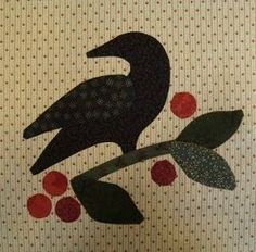 The Crow on Berry Branch Applique tutorial is a versatile applique pattern that you can use to create blocks for a quilt top, an applique wall hanging, or an applique pillow.