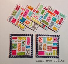 """69/101 ticker tape coasters 4"""" square"""