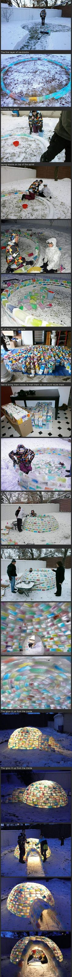 ice blocks, igloo, snow, milk cartons, awesom, stained glass, bucket lists, kid, cold weather
