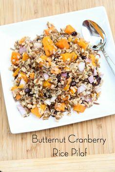Butternut Cranberry Rice Pilaf ~ gluten free, freezer friendly, and vegetarian! | 5DollarDinners.com