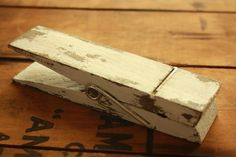 Table number holder Distressed vintage jumbo clothespin