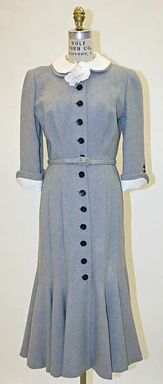 Grey wool dress with white linen collar and cuffs, by Norman Norell for Traina-Norell, American, 1947.