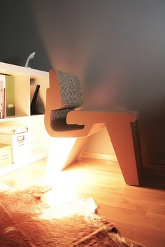 cardboard and light chair