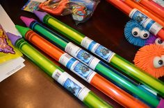 gill grunts high pressure water hose, dollar store water pencil, and sticker sheet print out, stick over label. # party favors for skylander party