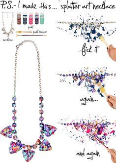 P.S. I made this... splatter art necklace with Martha Stewart Crafts Craft Paint #marthastewartcrafts