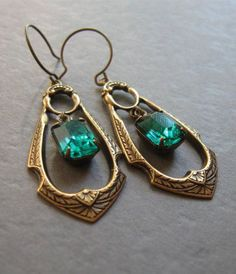 Green jewel earrings, long crystal dangles, vintage glam, emerald green