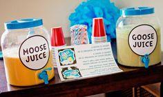 Dr. Seuss Birthday ideas Moose Juice and Goose Juice