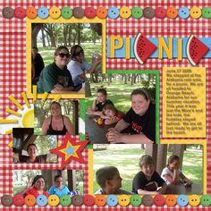 picnic scrapbook page scrapbook inspir, scrapbooks, picnics, buttons, scrapbook layout, picnic scrapbook pages
