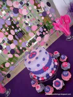 Polka dot themed party/cake for Doc McStuffins birthday party. Maybe.