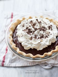 Chocolate Cream Pie is super creamy and amazingly simple to make #recipe on foodiecrush.com #pie chocolate cream pie, cream pies, tart, sweet, chocolates, chocol cream, food, lauren latest, dessert