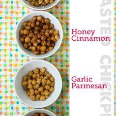 Roasted Chickpeas Zip List (Sesame Soy, Honey Cinnamon, Garlic Parmesan, and Smoky Spice blend)