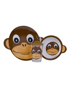 This would make the kids breakfast more fun again. It's always kind of difficult. #Monkey Tumbler, Bowl & Plate