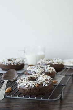 Double Chocolate Coconut Almond Donuts | thefirstyearblog.com #donuts #breakfast #chocolate
