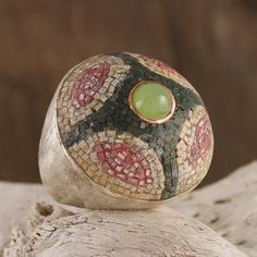 İstavroz    925 silver ring  Set with citrin, jade, turmalin ceramic micro mosaics  www.ozlemtuna.com