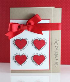 handmade valentine ... kraft ... satin ribbon ... white panel with four hearts ... luv it!!