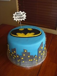 Batman Cake..did a similar with spider-man...super cute :)