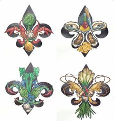 fleur de lis paintings/louisiana artists | Here are close up views of the prints.