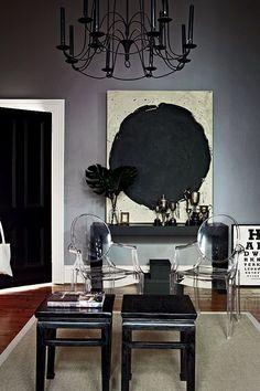 black door, interior, dark rooms, chairs, grey wall