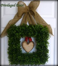 Valentines Day Wreath.  Valentine Wreath.  Square Faux Boxwood Wreath with Removable Woodfired Heart.  Enjoy All Year Long.