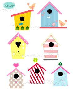 Printable Digital clip art : Love Bird House