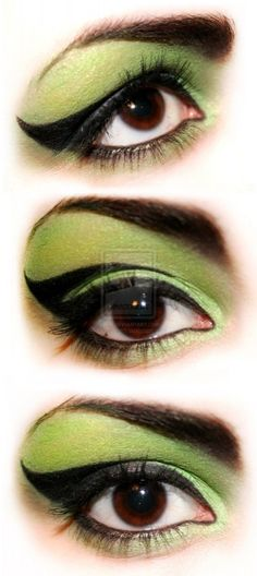 wicked witch eye makeup for costume. Wizard of oz love.