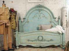 bed frames, cottage chic, blue, shabby chic, antique beds