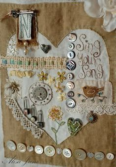 ¡Botones ah...mis botones!.¿Qué haríamos sin ellos? wall hangings, heart sampler, mini quilts, songs, heart art, buttons, places, stitches, textile art