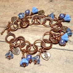 Bluebell Flowers Periwinkle Pearl and Copper Charm Handmade Bracelet