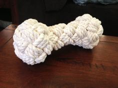 How to make a woven rope bone dog toy #pet #turks_head #knots #chew