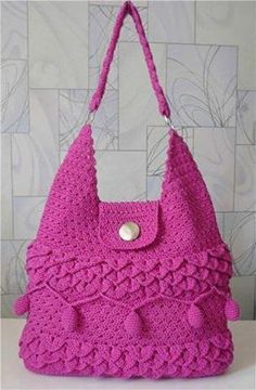 pink crochet bag with all the trimmings | via Facebook