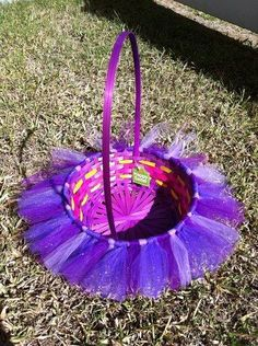 tulle Easter basket,  purple ballet basket, Rustic Easter craft ideas, Easter table decorations #2014 #Easter #eggs #bunny #rabbit #recipes #crafts www.loveitsomuch.com