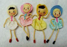 Set of 4 little vintage button face stockinette dolls c. 1950s, Japan
