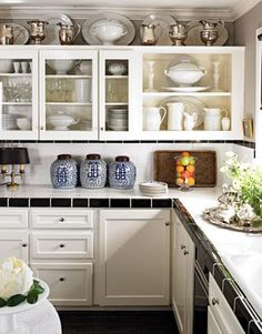 Quick Kitchen Makeovers on a Dime • Tips & Ideas! white kitchen, kitchen makeovers, small kitchens, ginger jars, silver, glass, hous, kitchen remodel, kitchen cabinets
